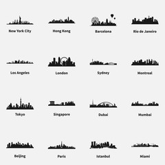 Set of best known cities skyline silhouette flat vector icons.