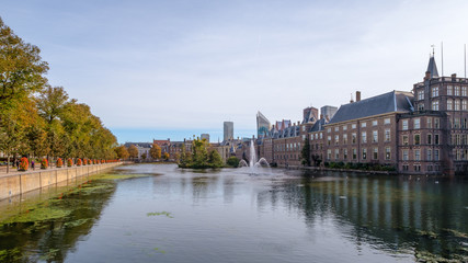 The Hofvijver (court pond) in front of the buildings of the Dutch parliament, The Hague, Netherlands