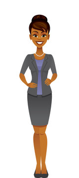 Smiling cartoon black business woman isolated on a  white background