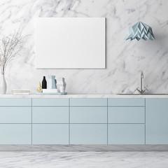 Mock up poster, kitchen stuff on white marble wall, 3d render, 3d illustration