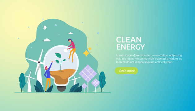 green clean energy sources. renewable electric sun solar panel and wind turbines. environmental concept with people character. web landing page template, banner, presentation, social, and print media.