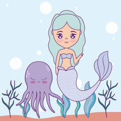 cute mermaid with octopus in the sea