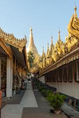 View of a temple near Shwedagon pagoda in Yangon, Myanmar