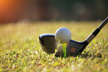 Golf club and golf ball close up in golf coures at Thailand