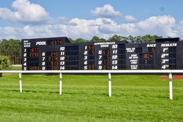 Race Track Tote Board on a Grassy field