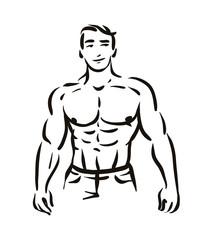 Vector illustration concept of Man bodybuilder figure silhouette. Black on white background