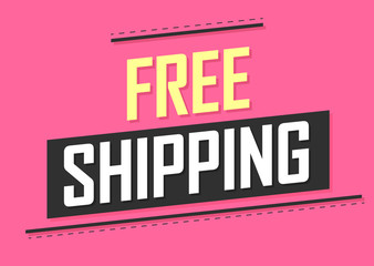 Free Shipping, banner design template, sale tag, vector illustration