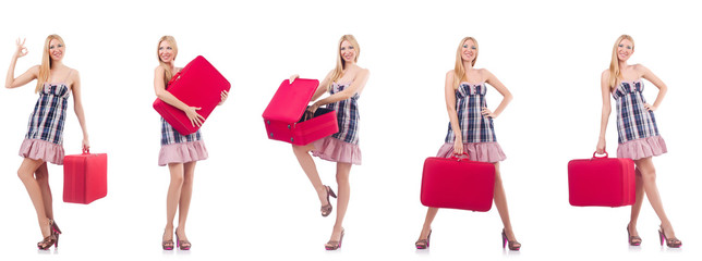 Beautiful woman with suitcase isolated on white