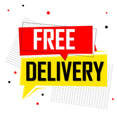 Free Delivery, speech bubble, banner design template, sale tag, vector illustration