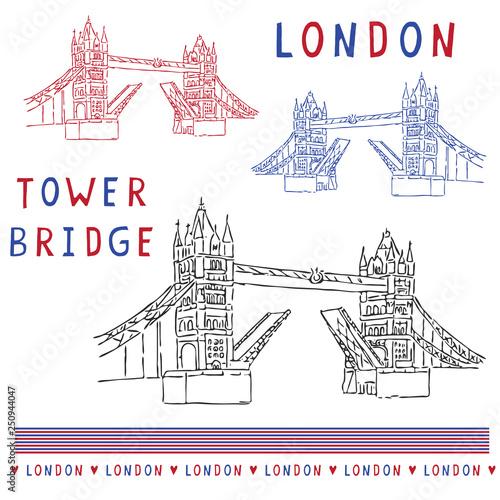 Sketchy London Tower Bridge Illustration Set Famous Historical