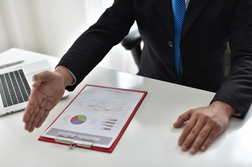 Job summary document Business report. Business concept Signing contract documents and work approval documents
