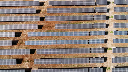 Solar panels field (solar cell)in Aerial view. Alternative energy, ecology power conservation concept