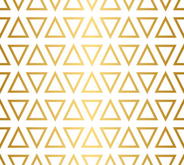 Seamless triangle pattern in gold and white