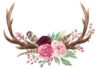 Rustic Watercolor Floral Antler Bouquet