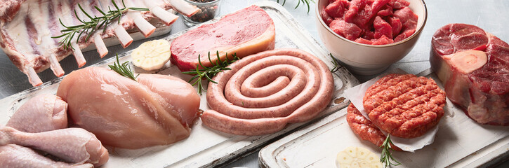 Raw meat - beef, pork, lamb, chicken