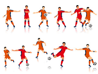 Football players character in different playing action.