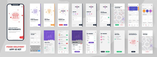 Food delivery mobile app ui kit including sign up, food menu, booking and home service type review screens.