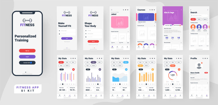 Fitness mobile app material design with different gui screens including sign create profile, workout and statistics features.