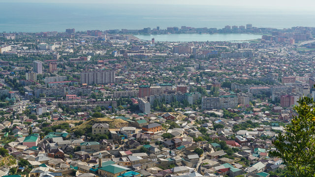 View of the central part of the city of Makhachkala - the capital of the Republic of Dagestan from the mountain Tarki-tau. On the right you can see the lake Ak-Gol