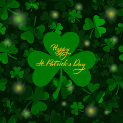 st patrick's day greeting card. clover leaves. dark green shamrock background with greeting text. St. Patrick's Day. Vector illustration.