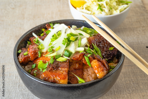 Rice bowl and fried pork belly, close-up - a traditional