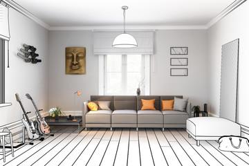 Sofa im Wohnzimmer (Planung) - 3d Illustration