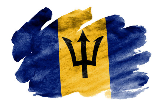 Barbados flag  is depicted in liquid watercolor style isolated on white background