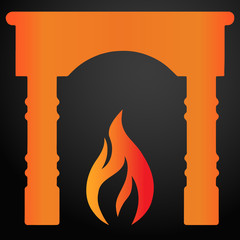 Fireplace with flame icon. EPS10 vector