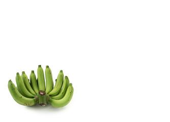 Green bananas on white background