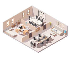 Vector isometric corporate office interior. CEO office, conference room and cubicle workplace with computers