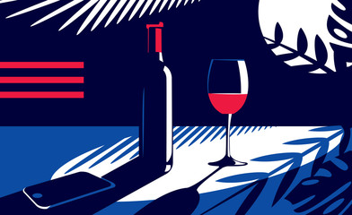 Vector illustration of a bottle and a glass of red wine and a cell phone near on the table in vintage style on the background of the moon and tropical leaves