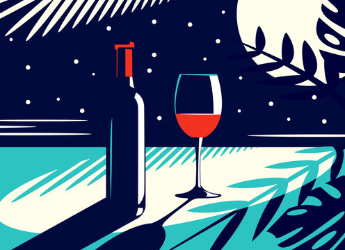 Vector illustration of a night view with a bottle and a glass of red wine in vintage style on the background of the moon and tropical leaves