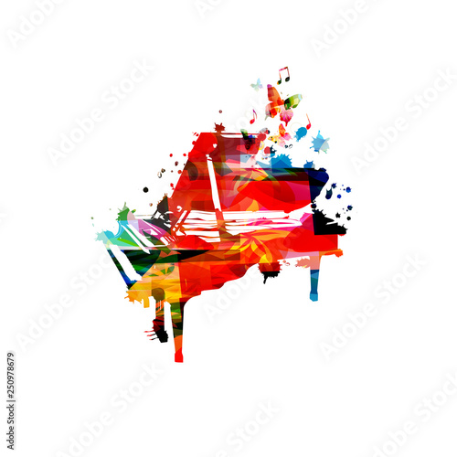 Colorful piano with music notes isolated vector illustration