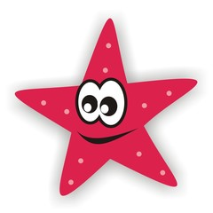 Red starfish with eye and mouth, funny vector illustration. The background is shadow.