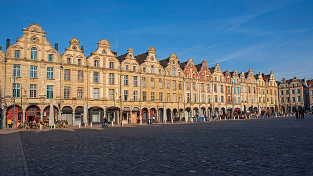 Facades of typical Flemish medieval houses in a square of Arras in France