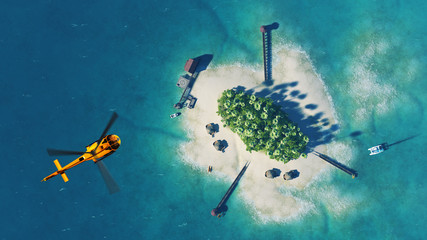Summer tropical island. Small helicopter flying above private paradise tropical island with palm trees, bungalows and yachts. Luxury life concept. Traveling holiday background
