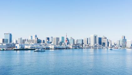 city skyline of tokyo bay, tokyo tower in odaiba, Japan