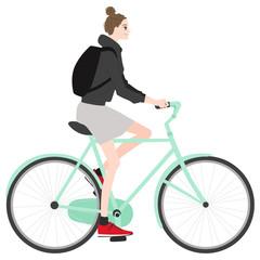 若い女性のイラスト。自転車に乗っている健康的な若い女性。
