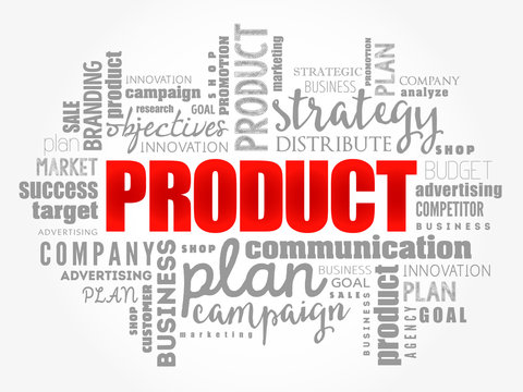 PRODUCT word cloud collage, business concept background