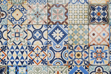 Texture of ceramic tiles in oriental turkish style