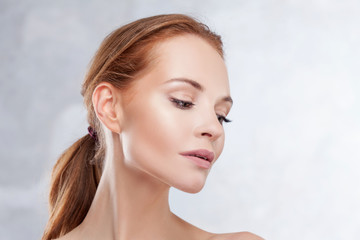 Redhead girl beauty portrait, skin care concept.