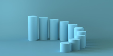 Empty pastel blue steps cylinder on blue background. 3D rendering.