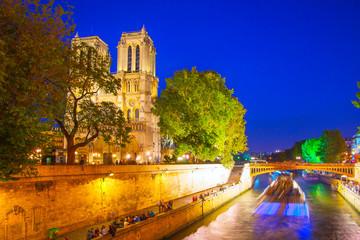 Wall Mural - Quay of Seine and Notre Dame de Paris