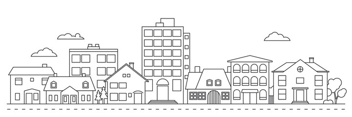Small Town neighborhood line icon style vector illustration