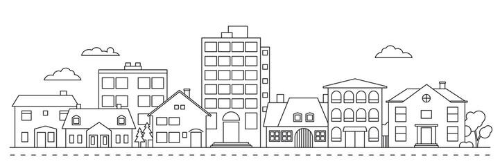 Fototapeta Small Town neighborhood line icon style vector illustration obraz
