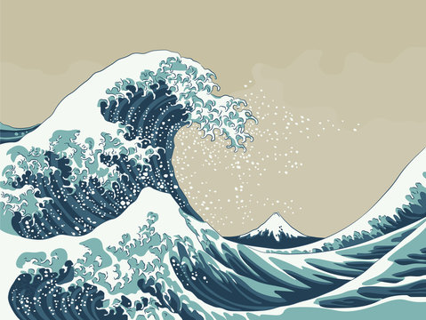 Great Wave Japanese Woodblock Print Style Vector Illustration