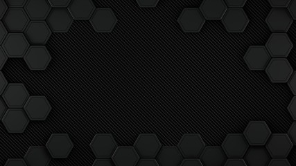 Wall Mural - Carbon and black metal hexagons background template. 3d Render