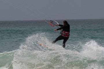 Capo Verde kite surfer beach scene