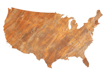 USA map grunge rusty metal style