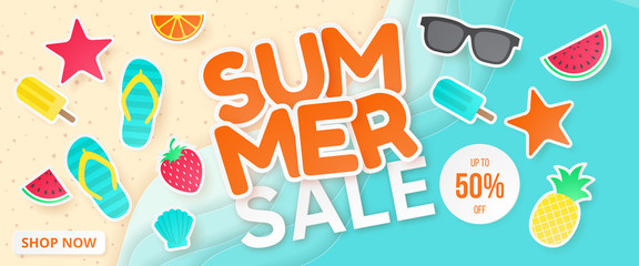 Summer sale vector banner. Paper cut. Can used for banners,Wallpaper,flyers, invitation, posters, brochure, voucher discount. Vector illustration
